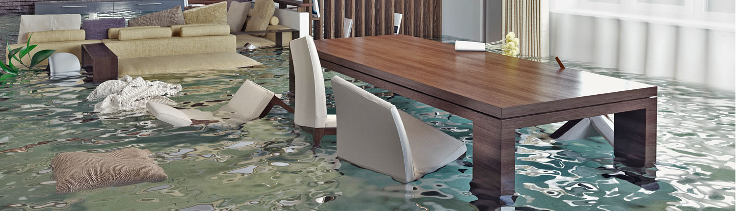 Water flooding dining room in home